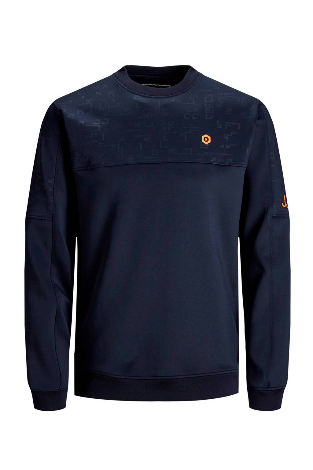 JACK & JONES JUNIOR sweater Mercury met tekst donkerblauw, Donkerblauw