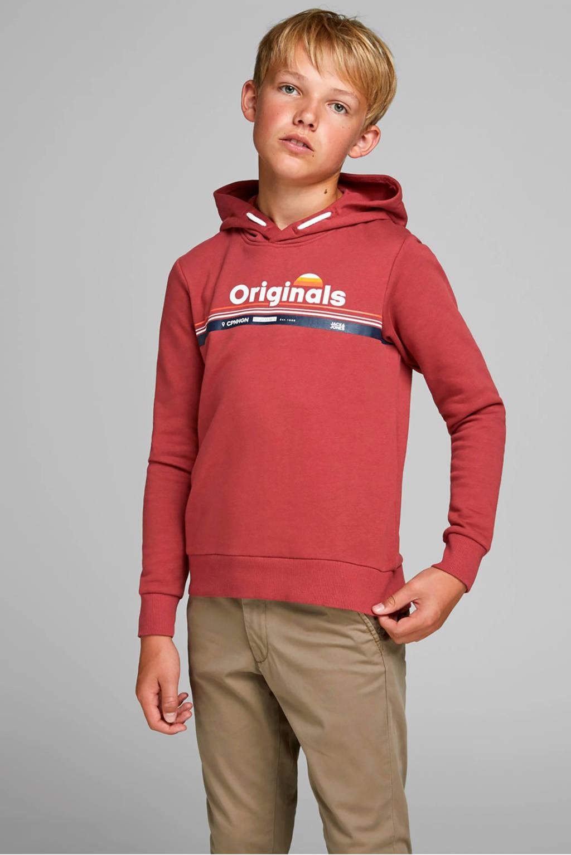 JACK & JONES JUNIOR hoodie met printopdruk vergrijsd rood, Vergrijsd rood
