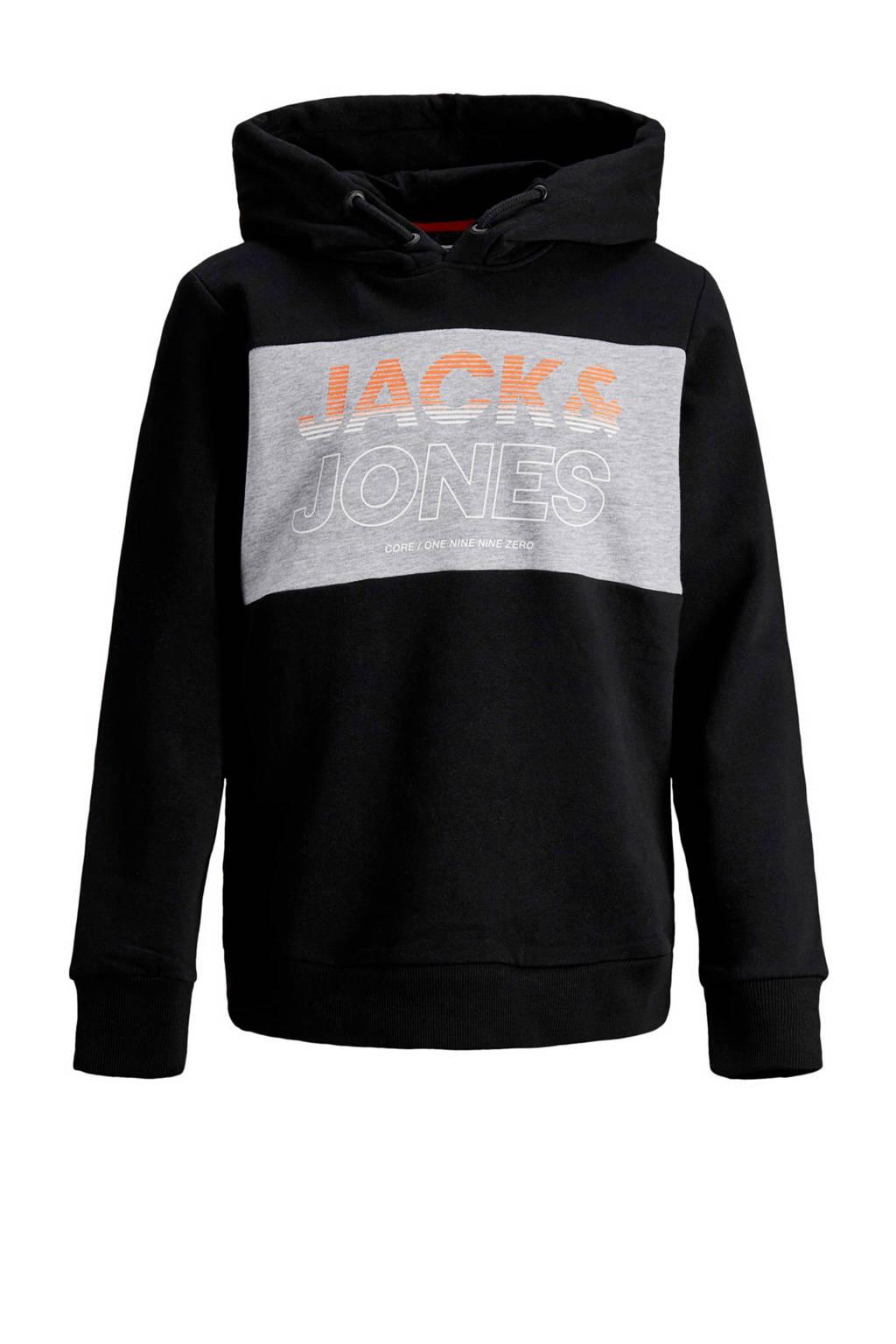 JACK & JONES JUNIOR hoodie met tekst zwart/ grijs/ oranje, Zwart/ grijs/ oranje