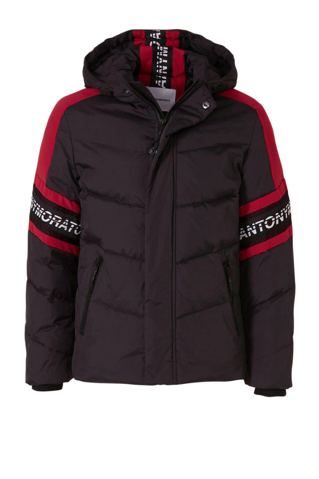 Antony Morato winterjas meerkleurig met logo zwart/rood, Zwart/rood