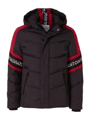 winterjas meerkleurig met logo zwart/rood