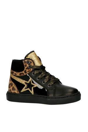 192-1536LP leren sneakers zwart/goud
