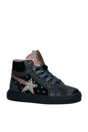 192-1536LP leren sneakers blauw/roze