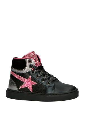 192-1536LP leren sneakers blauw/zilver/roze
