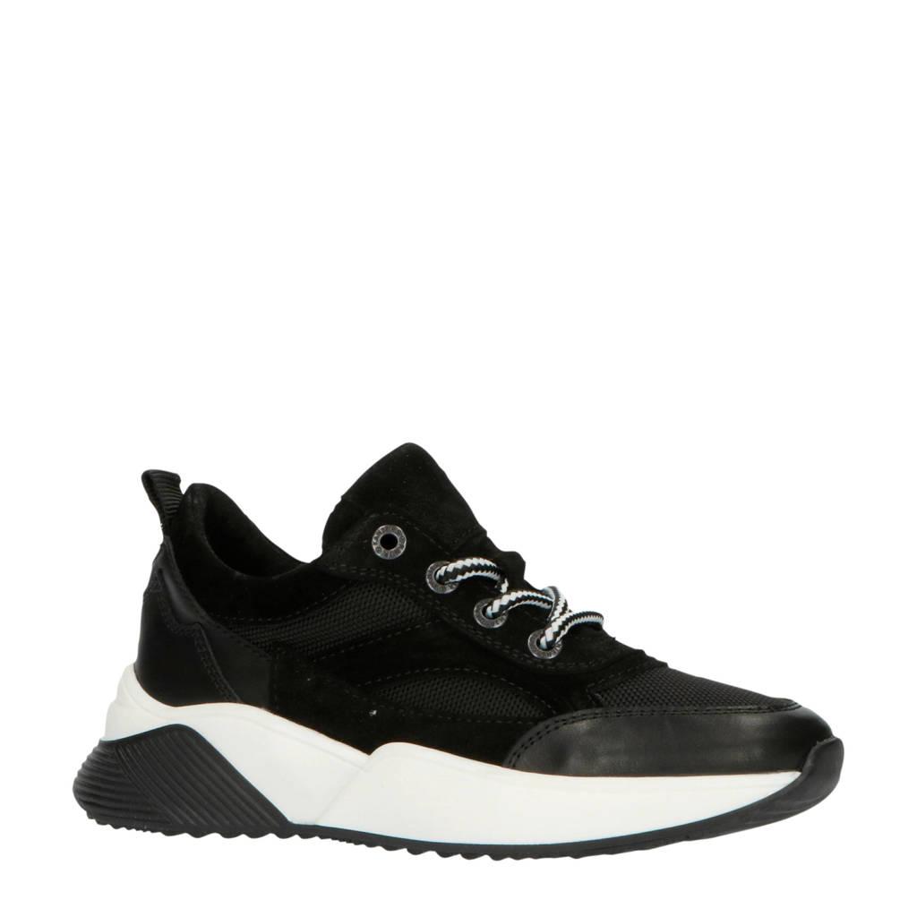 Kanjers 192-1518lp  leren sneakers zwart, Zwart