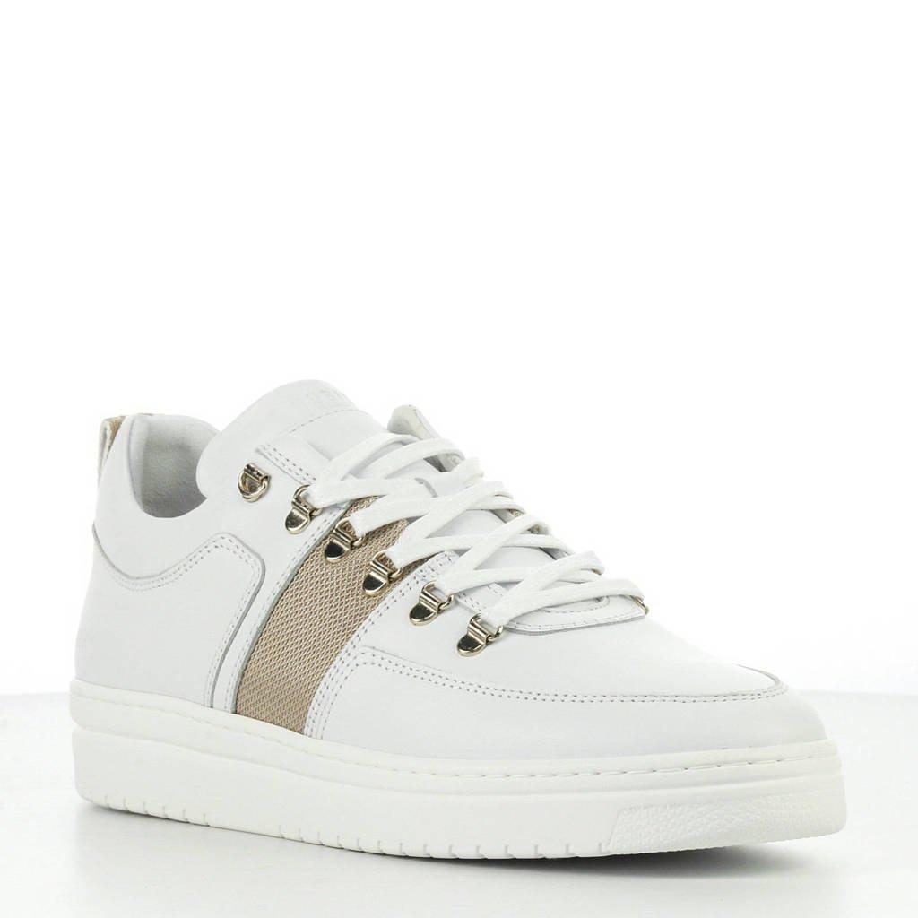Nubikk  Yeye Maze L leren sneakers wit/goud, Wit