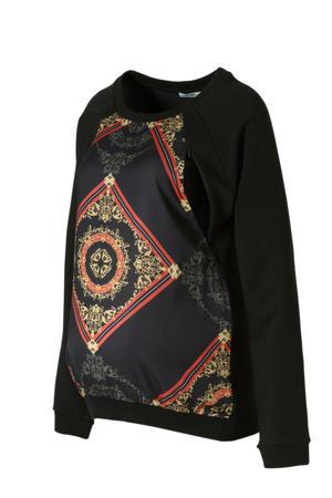 zwangerschaps- en voedingssweater met all over print zwart/rood/goud/groen