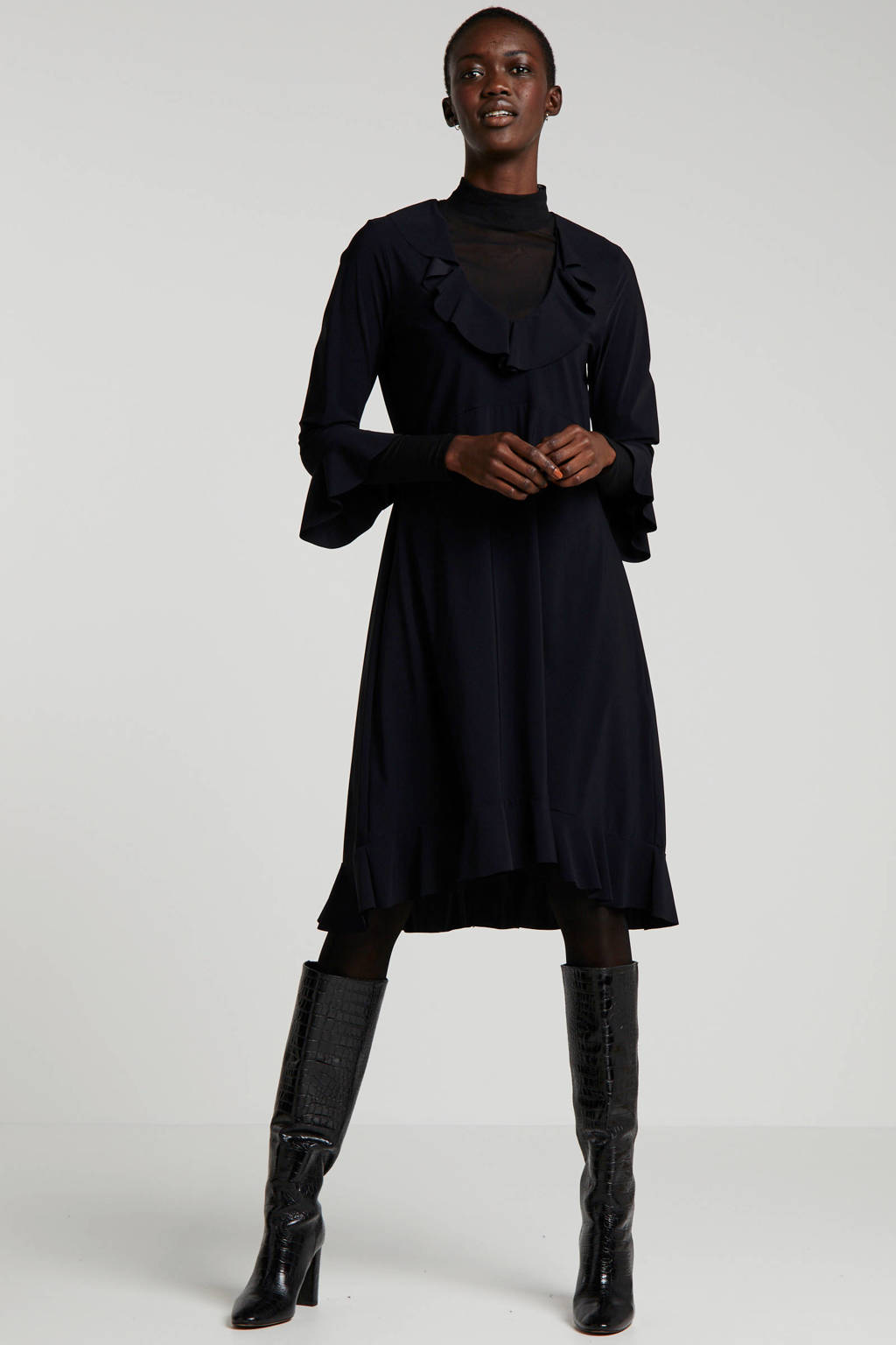 Summum Woman jersey jurk met volant zwart, Zwart