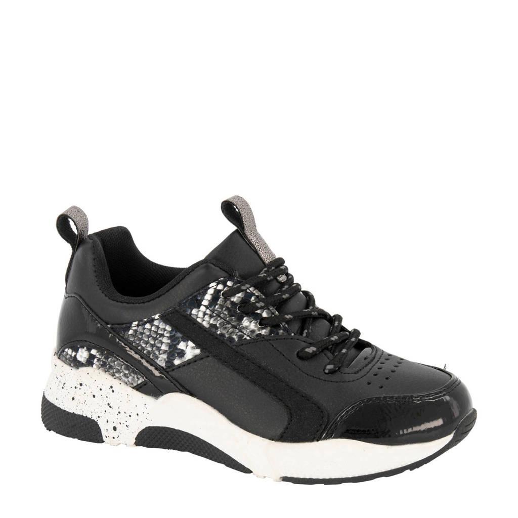 Graceland   sneakers zwart/multi met slangenprint, Zwart/antraciet