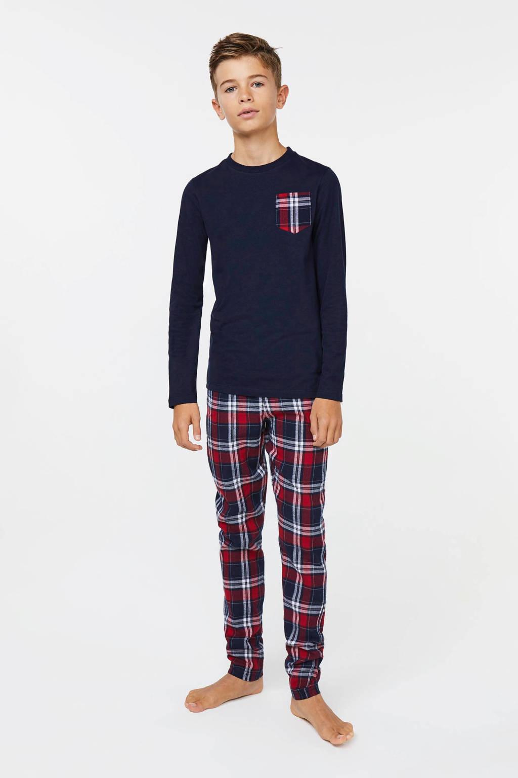 WE Fashion   pyjama met ruit donkerblauw/rood, Donkerblauw/rood/wit