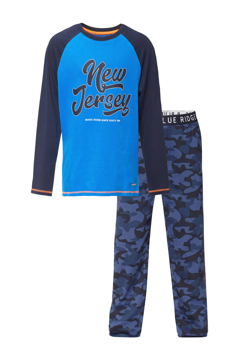 WE Fashion   pyjama printopdruk blauw, Blauw