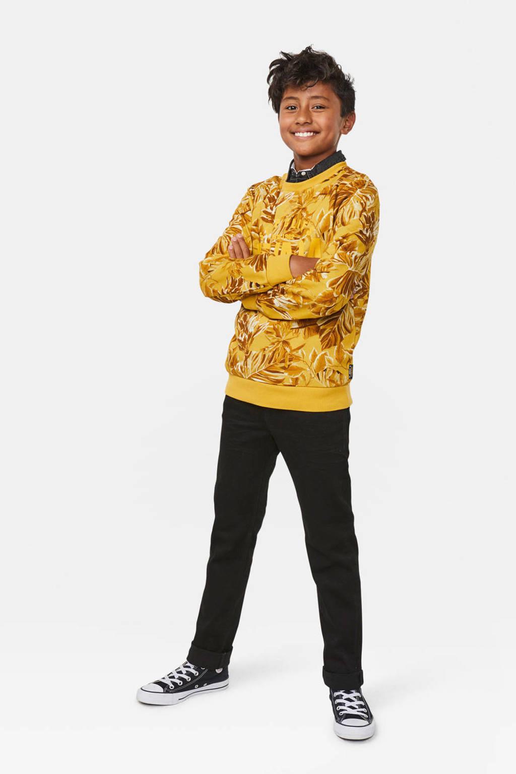 WE Fashion sweater Nevada met bladprint oker/bruin, Oker/bruin