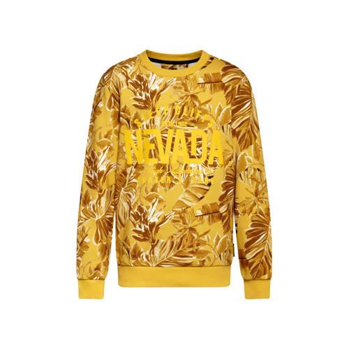 WE Fashion sweater Nevada met bladprint oker/bruin