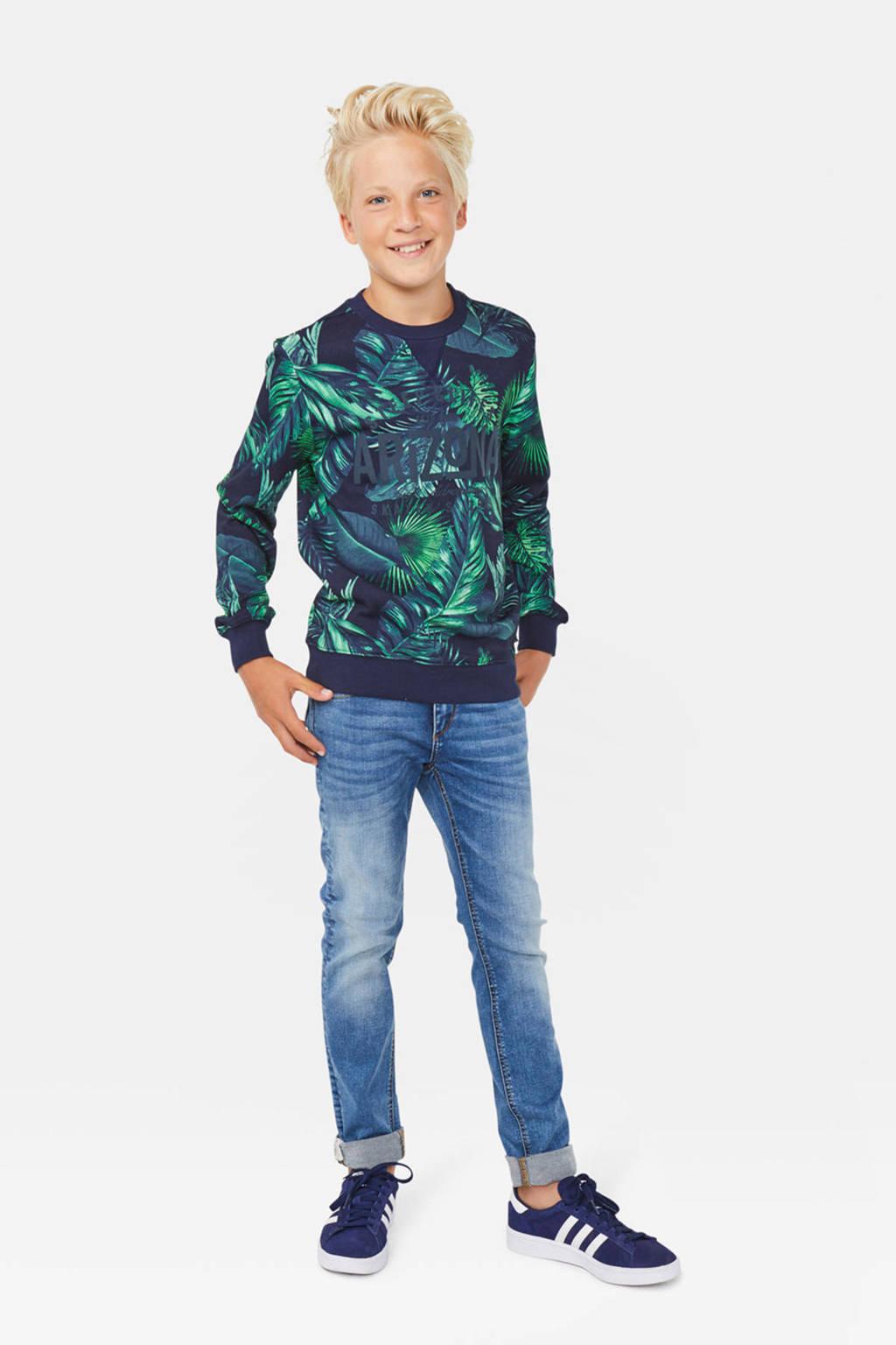 WE Fashion sweater met bladprint donkerblauw/groen, Donkerblauw/groen
