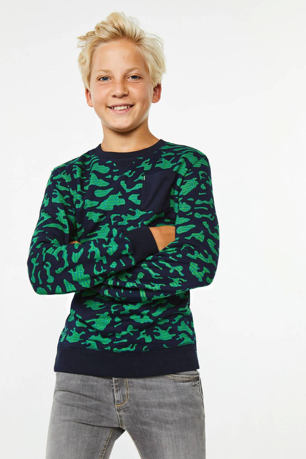 WE Fashion sweater met camouflageprint donkerblauw/groen, Donkerblauw/groen