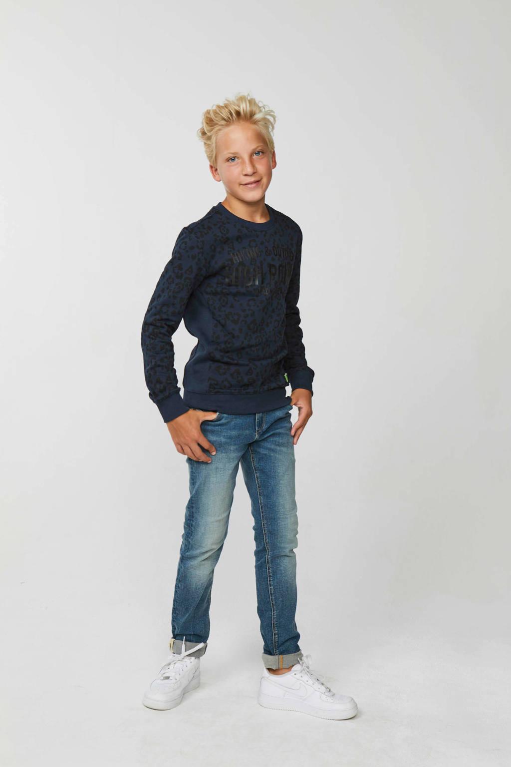 WE Fashion sweater donkerblauw/zwart, Donkerblauw/zwart