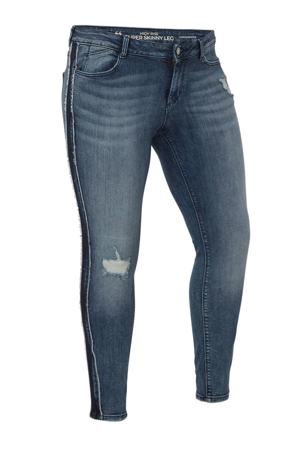 C&A XL Clockhouse high waist skinny jeans met zijstreep en slijtage, Stonewashed