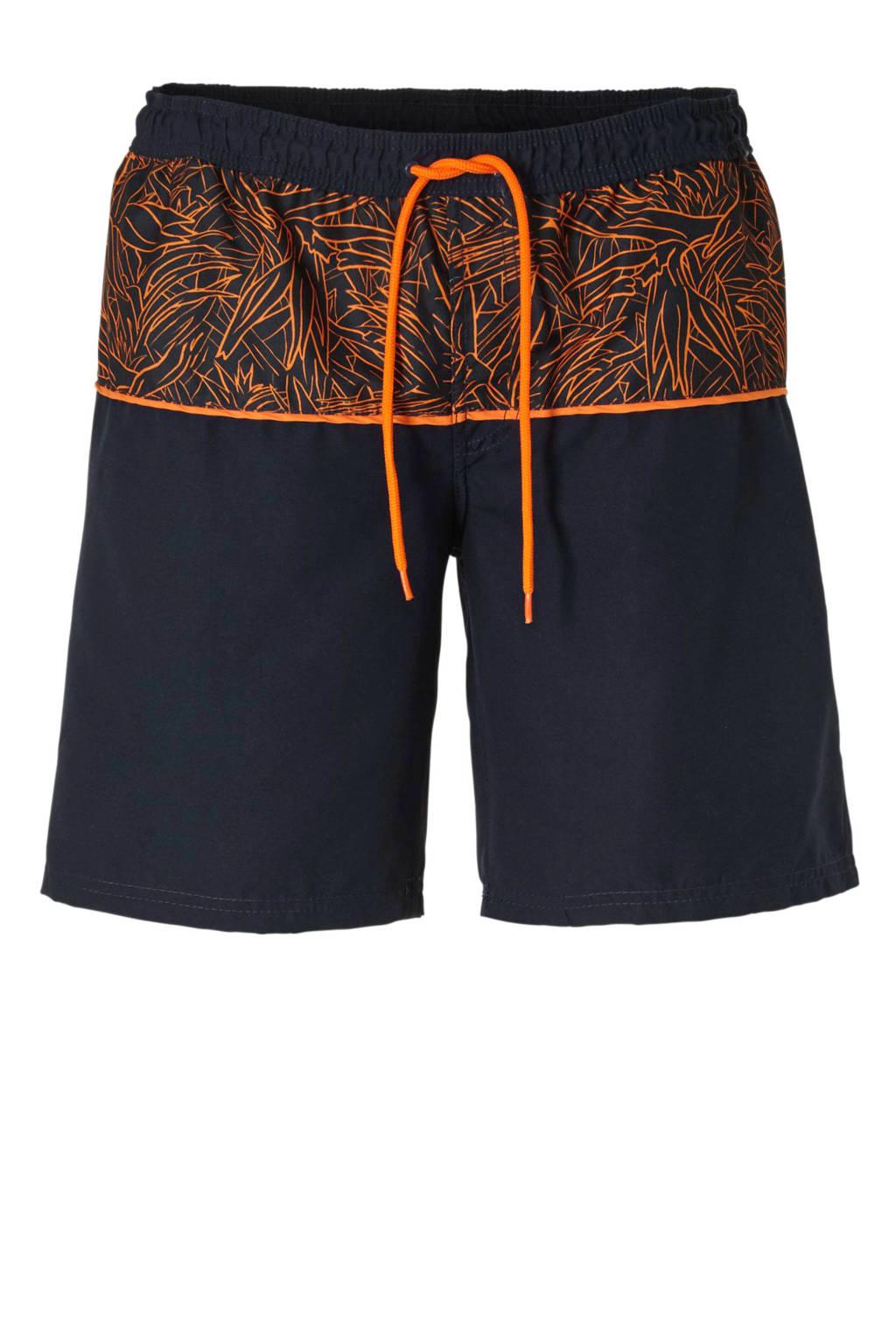 C&A zwemshort met printopdruk marine, Marine/oranje