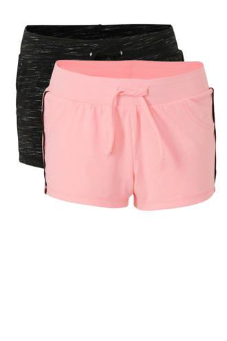 Here & There sweatshort met zijstreep roze/zwart - set van 2