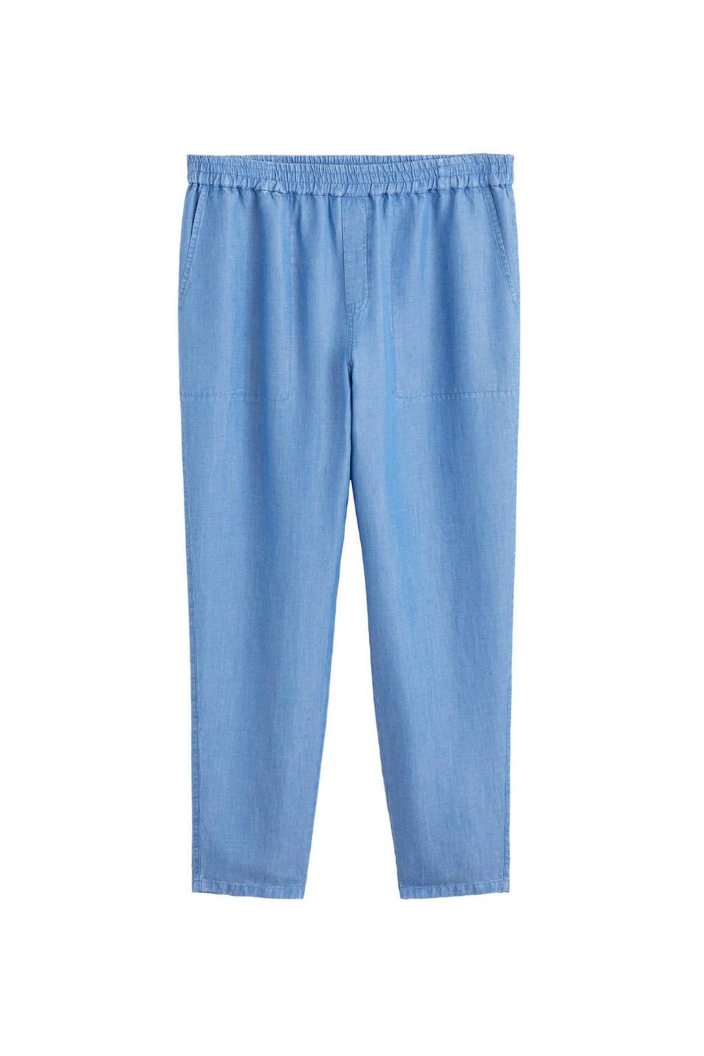 Violeta by Mango high waist loose fit broek met linnen light denim, Light denim