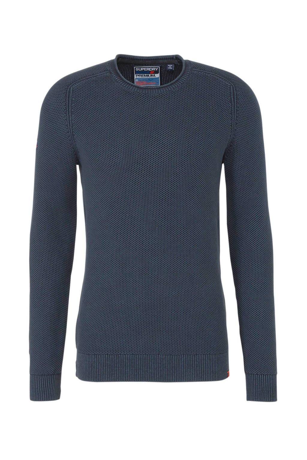 Superdry trui met textuur donkerblauw, Donkerblauw