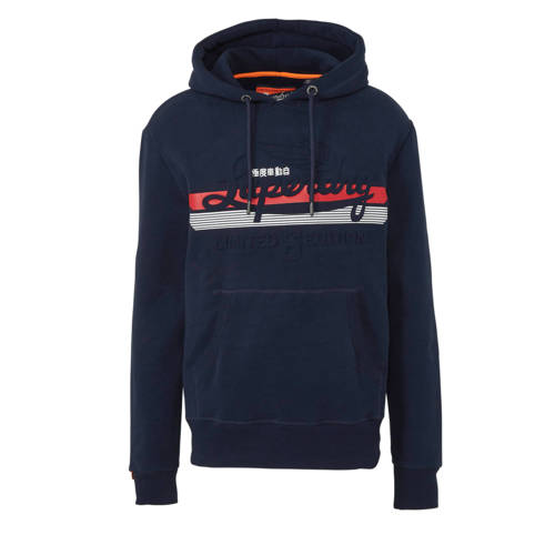 Superdry hoodie met tekstopdruk donkerblauw kopen
