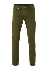 Scotch & Soda Amsterdams Blauw slim fit broek military green, Military green