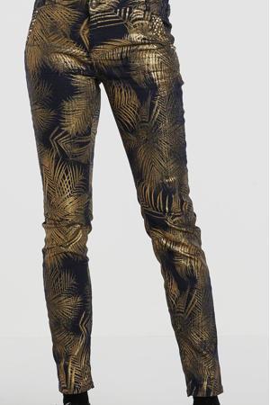 high waist skinny broek met bladprint en studs goud/zwart