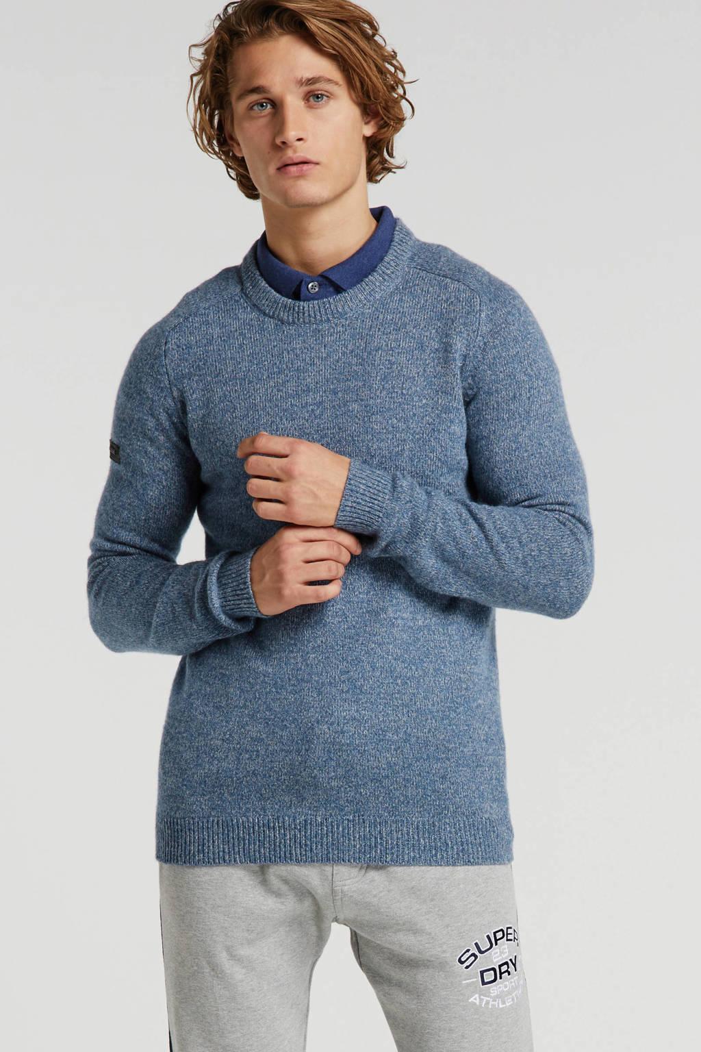 Superdry gemêleerde trui met wol blauw, Blauw
