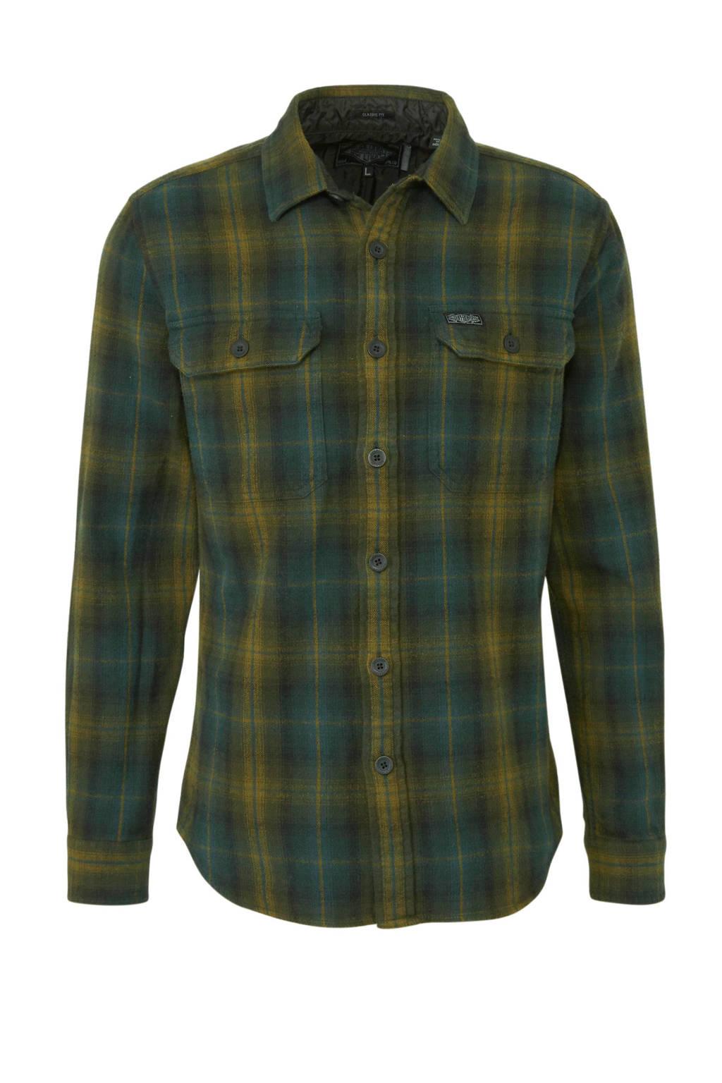 Superdry geruit regular fit overhemd groen/geel, Groen/geel