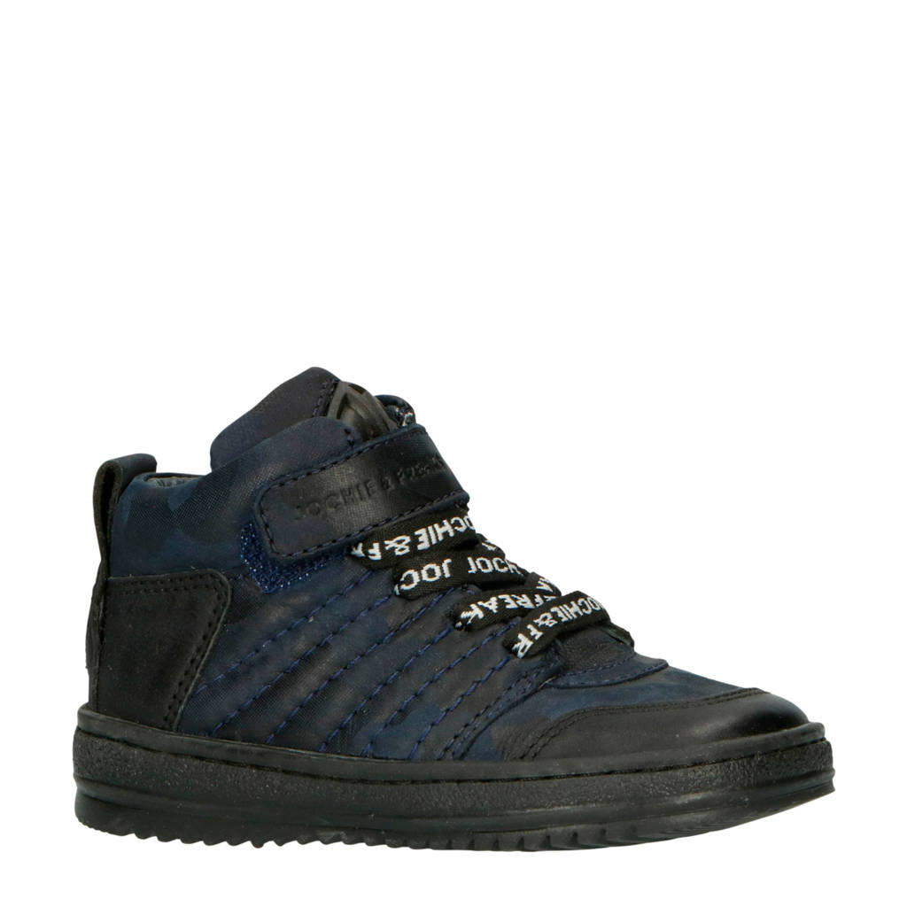 JOCHIE&FREAKS   19256 leren sneakers donkerblauw, Donkerblauw