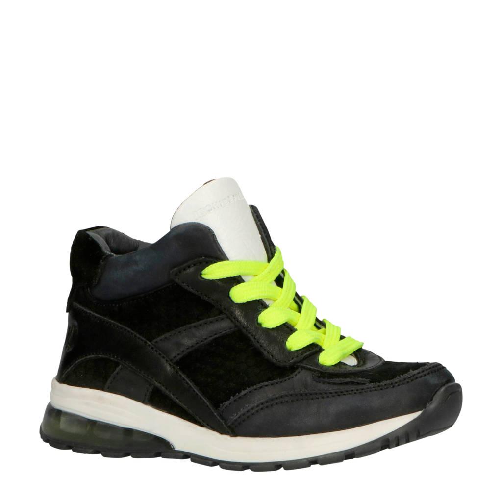 JOCHIE&FREAKS   leren sneakers zwart, Zwart