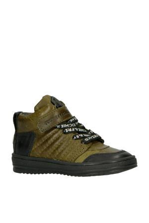 19256 leren sneakers legergroen