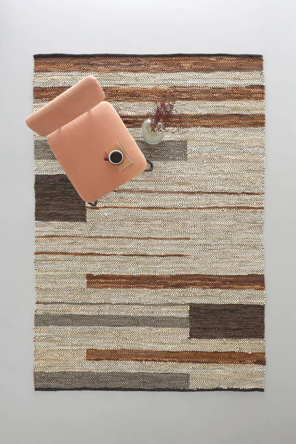 whkmp's own vloerkleed Siem (leer)  (230x160 cm), Bruin