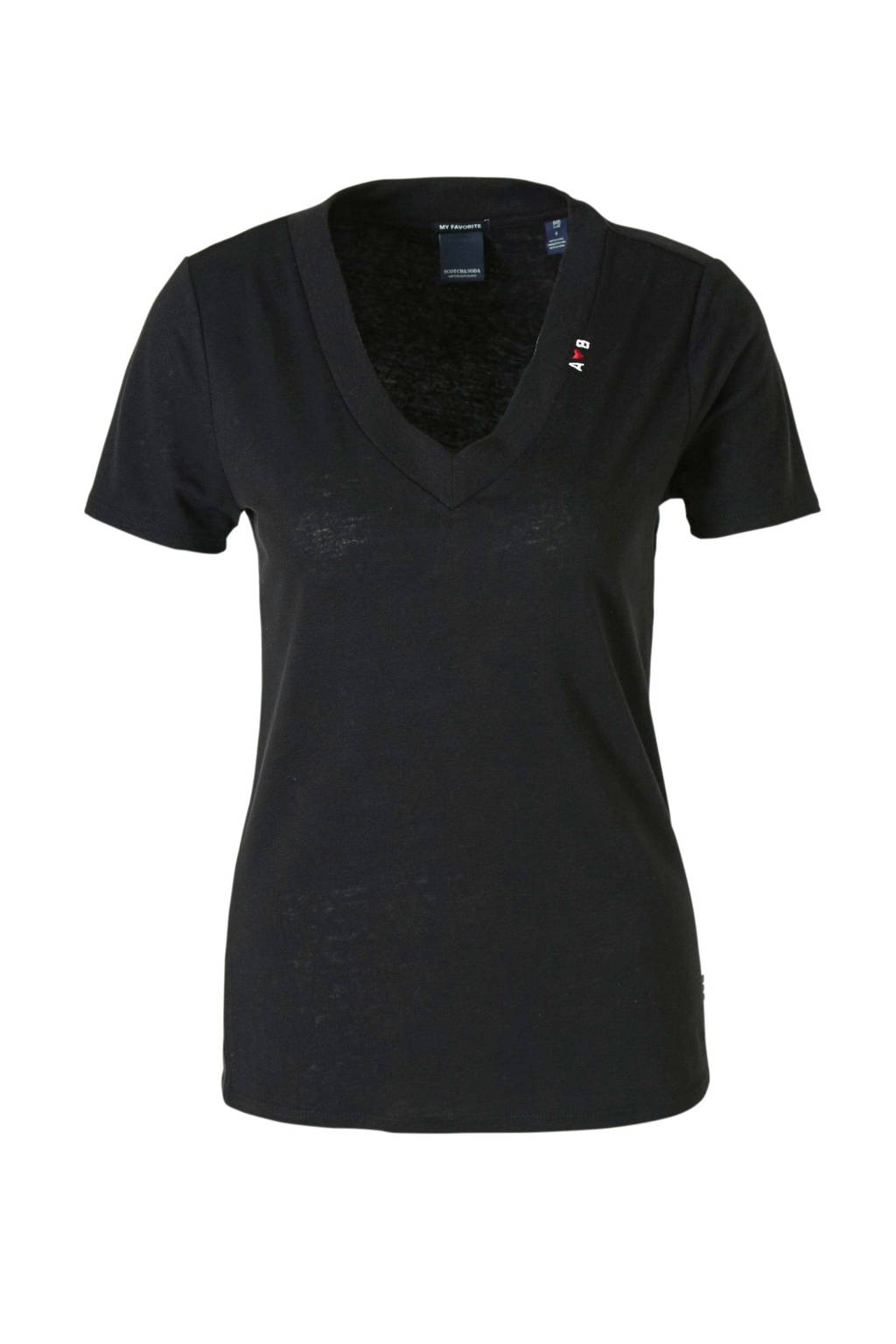 Scotch & Soda T-shirt met linnen zwart, Zwart