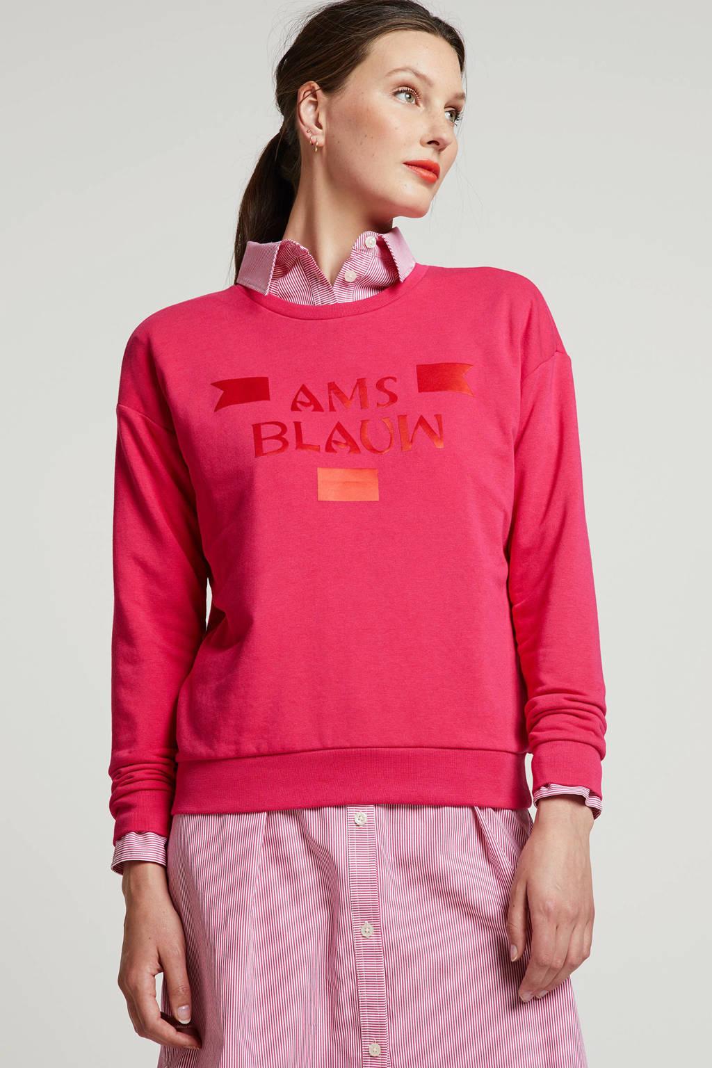 Scotch & Soda sweater met tekst roze/rood, Roze/rood
