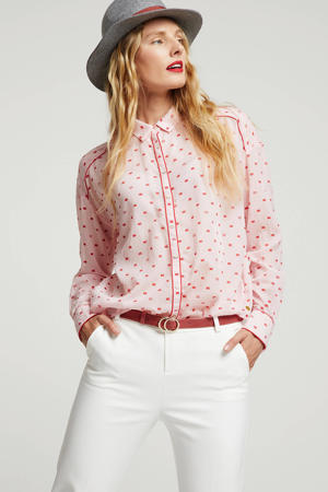 blouse met all over print roze/rood