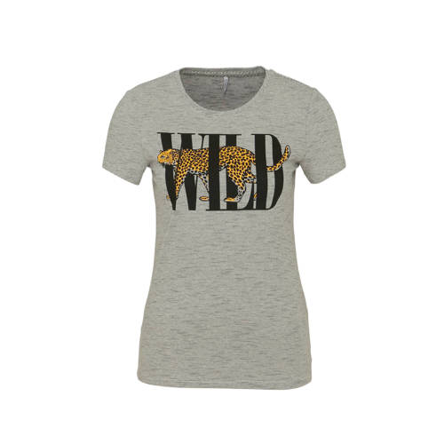 ONLY T-shirt met printopdruk grijs/zwart/geel