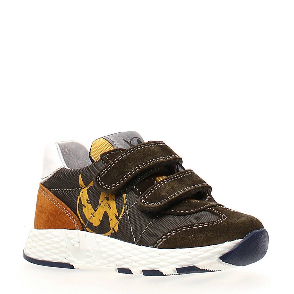 Naturino Jesko  suède sneakers groen/geel, Donkergroen/Bruin/Geel