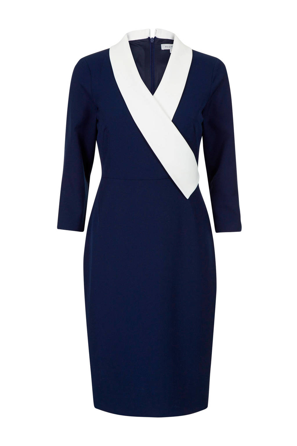 Promiss jurk met overslag detail marine/wit, Marine/wit