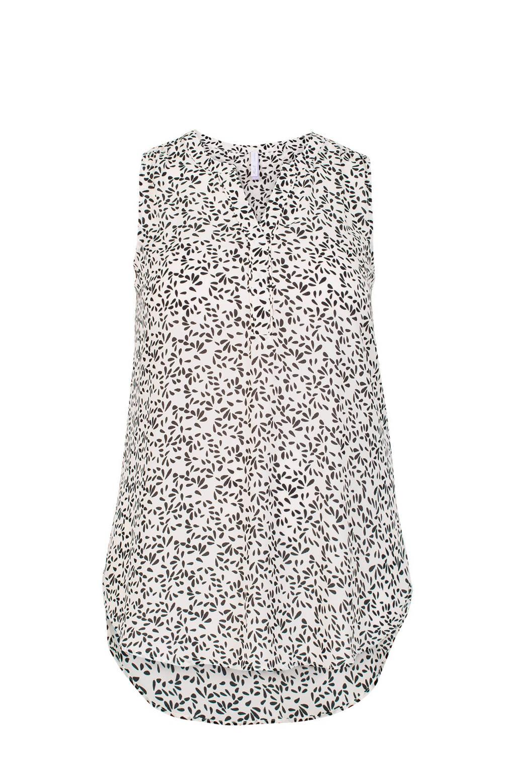 Miss Etam Plus top met all over print wit/zwart, Wit/zwart