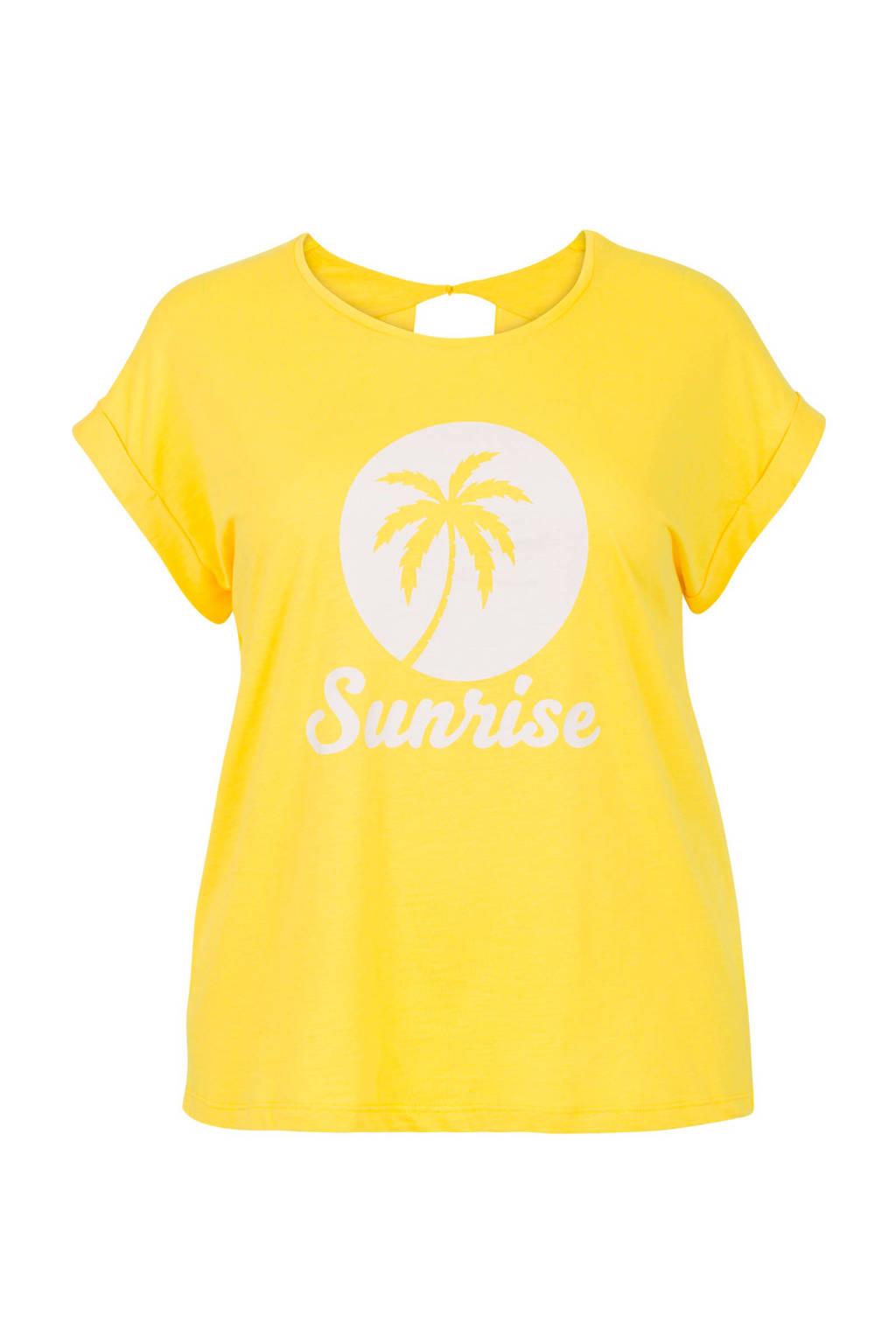 Miss Etam Plus T-shirt met printopdruk geel, Geel