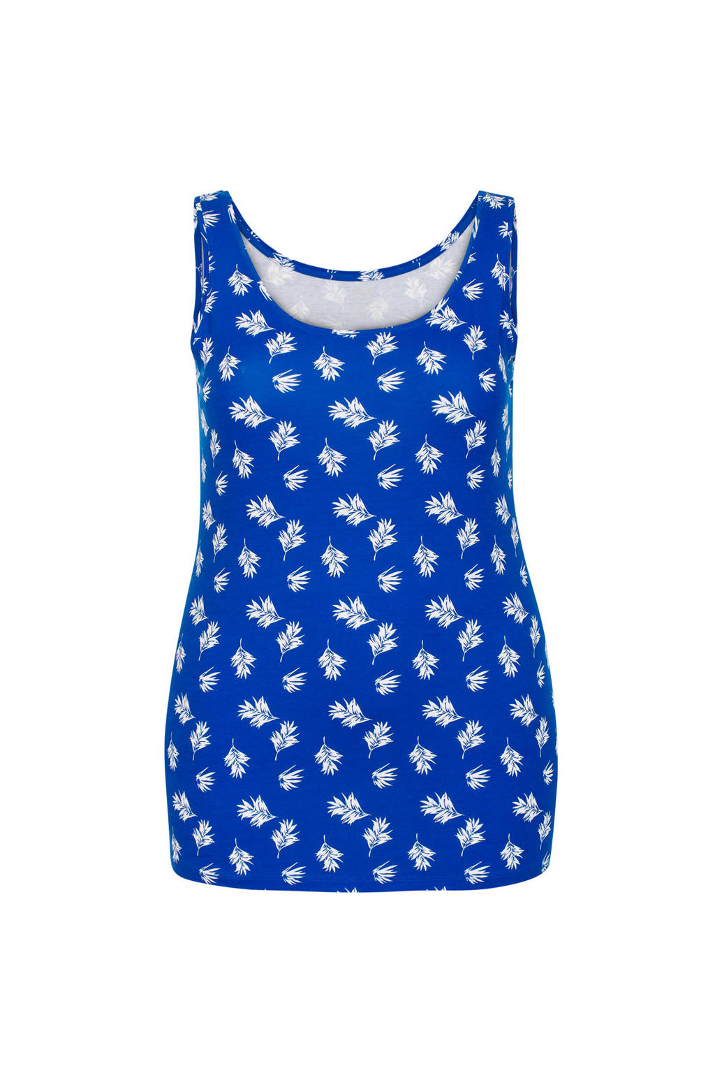 8f19ce50d0c Miss Etam Plus singlet met bladprint koningsblauw, Koningsblauw