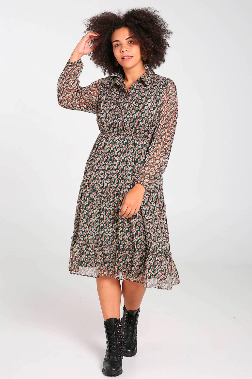 Paprika jurk met bladprint donkergroen, Donkergroen