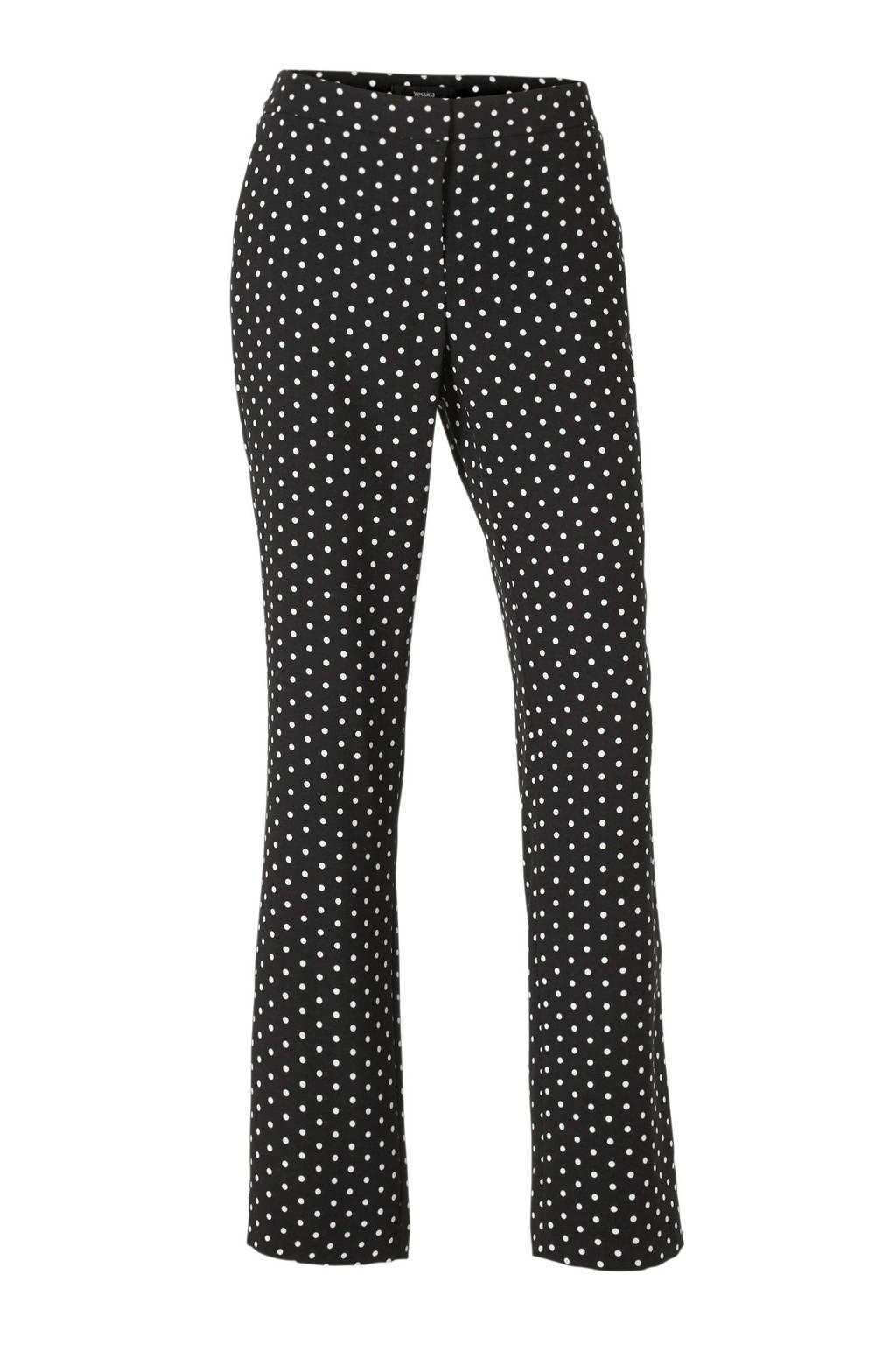 C&A straight fit pantalon met stippen zwart/wit, Zwart/wit