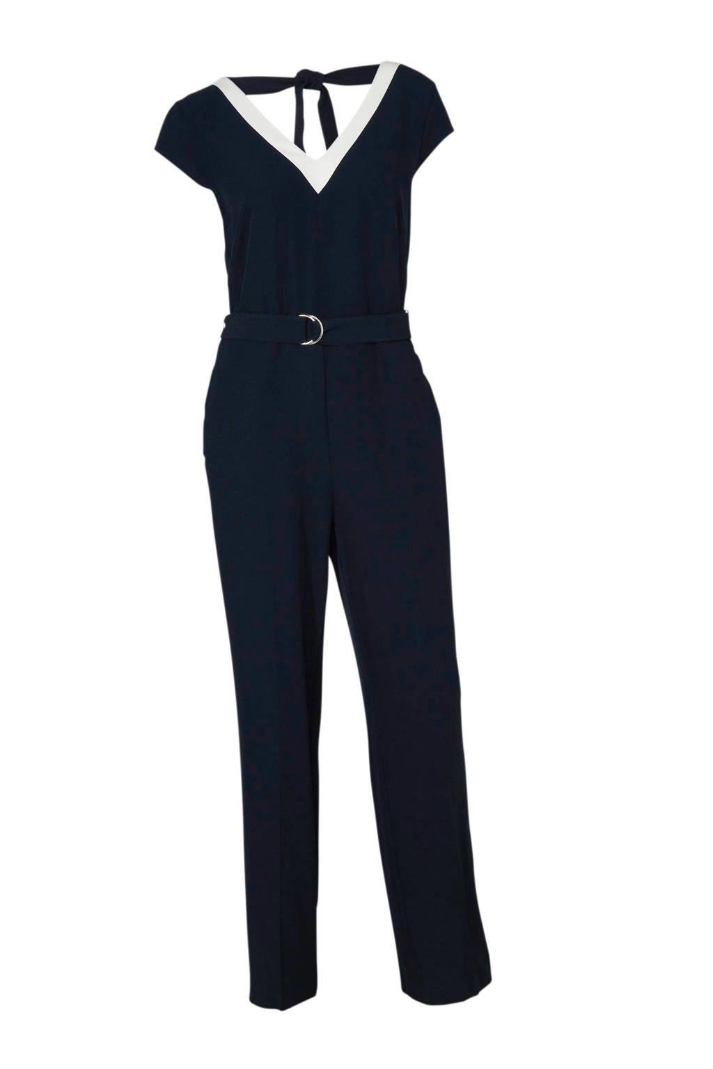 C&A Yessica jumpsuit met zijstreep marine/wit, Marine/wit