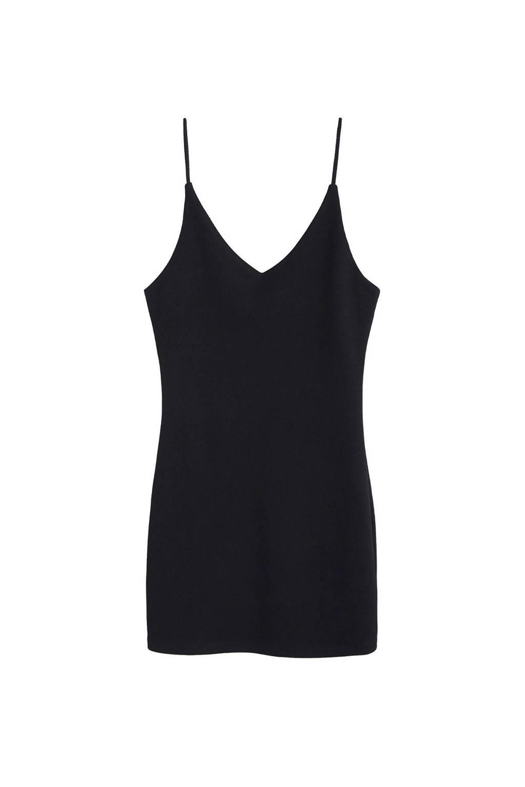 Mango ribgebreide jurk, Zwart