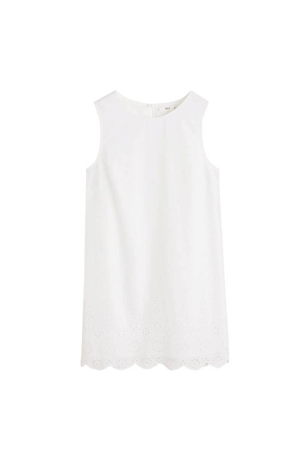 Mango broderie jurk wit, Wit