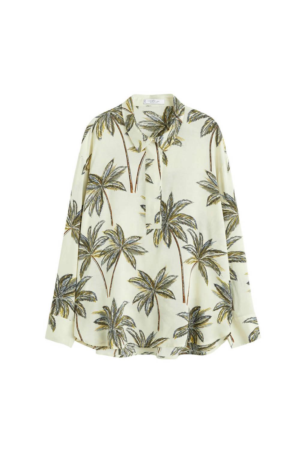 Violeta by Mango blouse met all over print gebroken wit, Gebroken wit