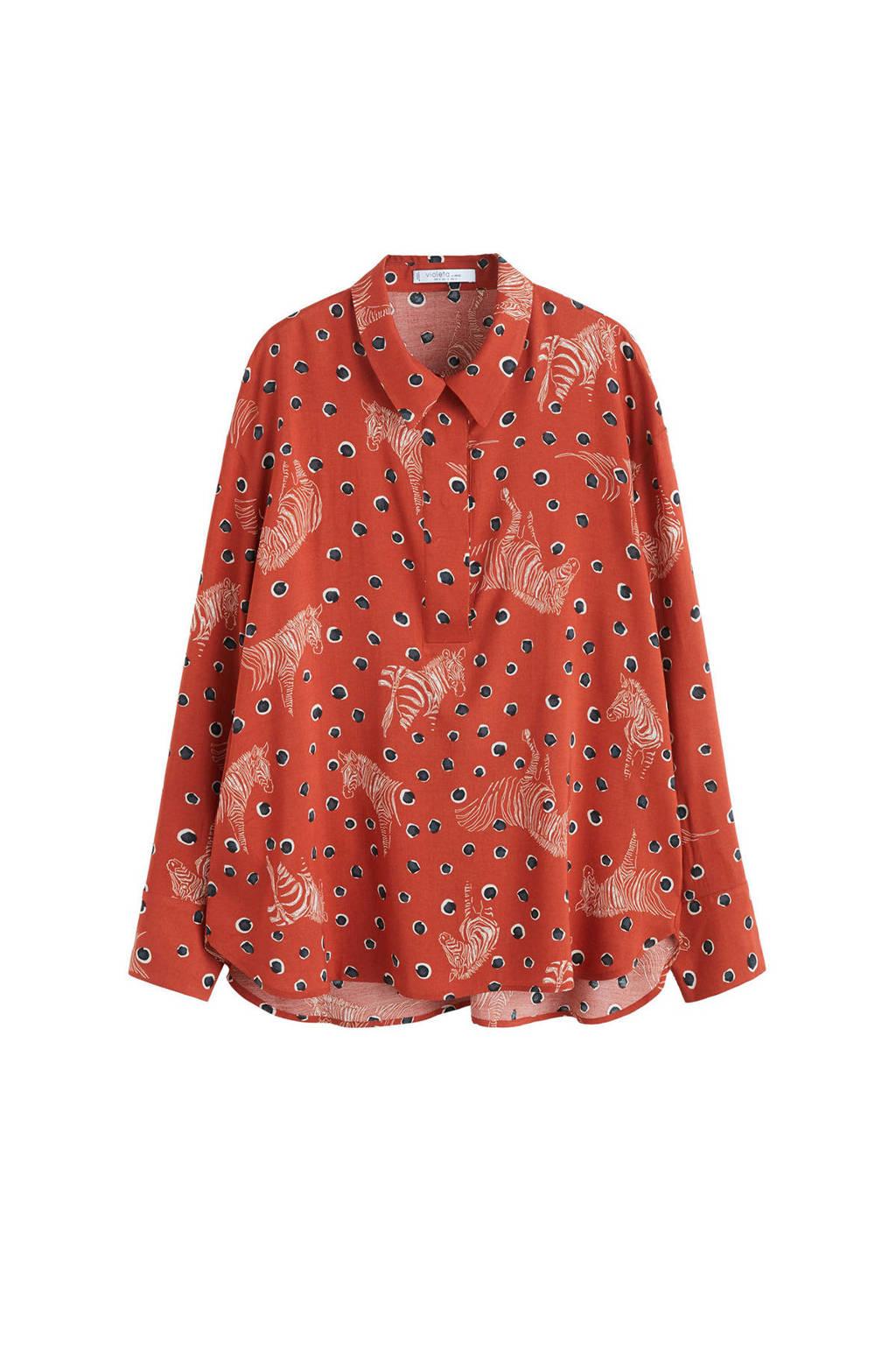 Violeta by Mango blouse met all over print oranje, Oranje